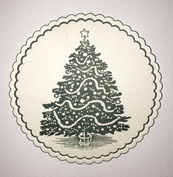 christmas tree circular holiday coaster