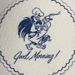 Good Morning! Rooster dark blue, Beverage Coasters produces disposable paper coasters of different paper types like cellulose coasters, budget board coasters, and pulpboard coasters. If you're holding holiday celebrations, we have a variety of holiday coaster to choose from. If your business could use some advertising help, coasters are the perfect way to advertise. We sell wholesale custom coasters with custom paper choice and your logo printed on a coaster.