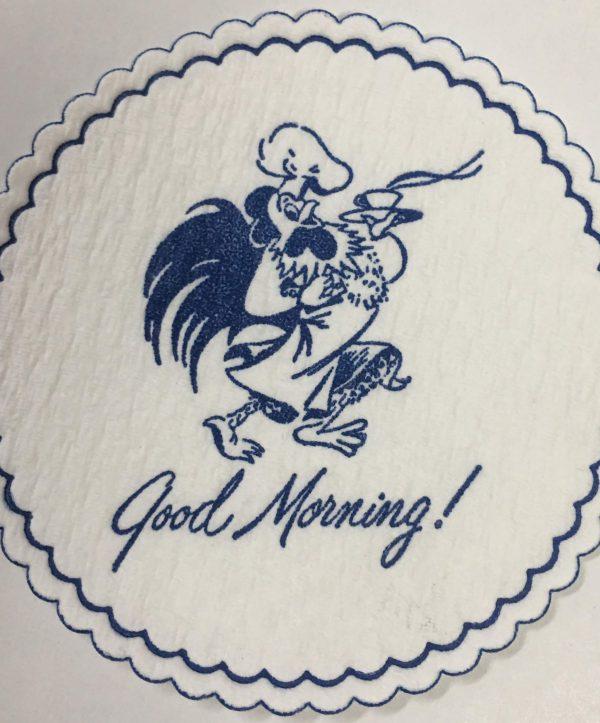 custom cellulose coaster Good Morning! Rooster dark blue