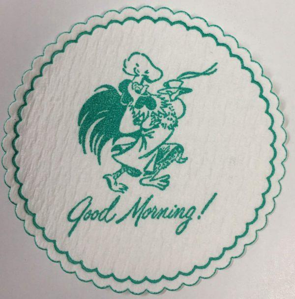 custom pulpboard coaster Good Morning! Rooster green