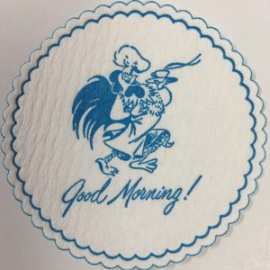 custom cellulose coaster Good Morning! Rooster light blue