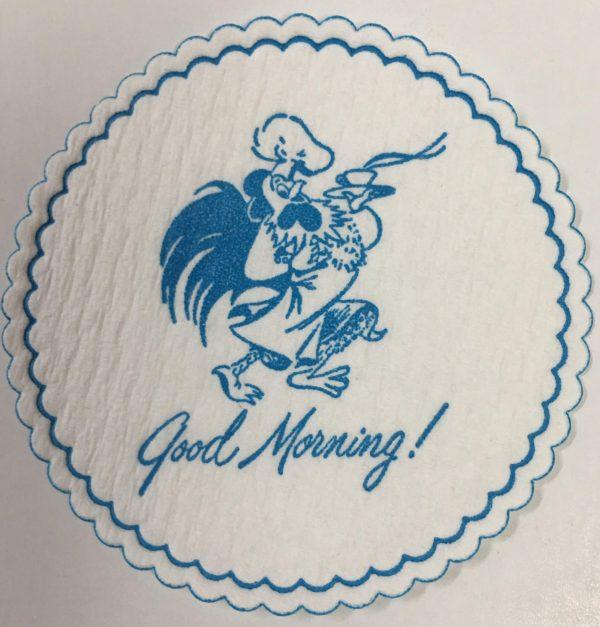 custom cellulose coaster Good Morning! Rooster light blue