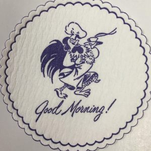 custom pulpboard coaster Good Morning! Rooster purple