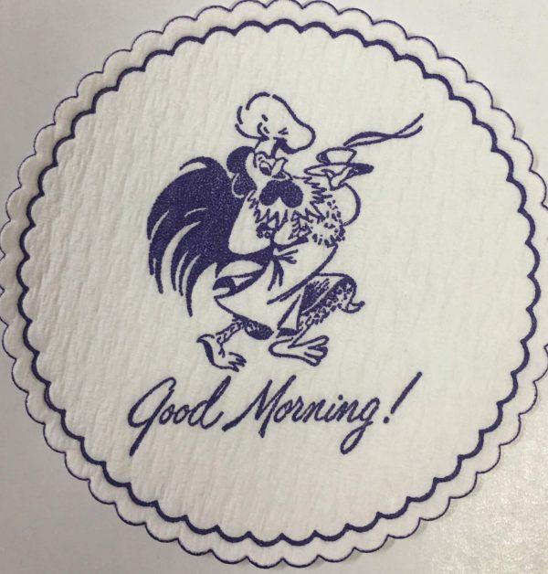 custom pulpboard coaster Good Morning! Rooster purple
