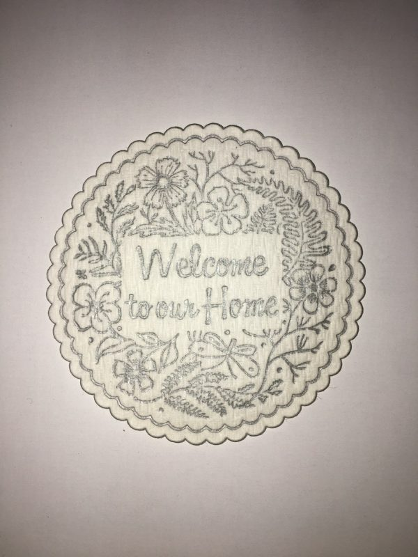 Welcome to our Home coaster in Silver