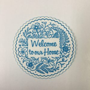 Welcome to our Home coaster in Light Blue