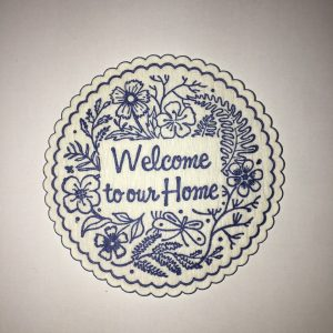 Welcome to our Home coaster in Dark lue